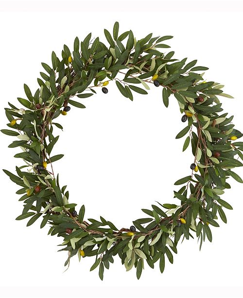Nearly Natural 23in. Olive Artificial Wreath