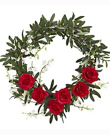 21in. Olive, Rose and Cherry Blossom Artificial Wreath