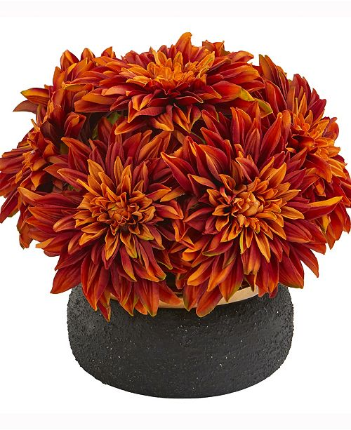 Nearly Natural 13in. Dahlia Artificial Arrangement in Stoneware Vase