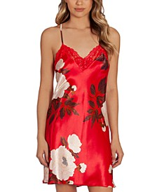 Floral-Print Satin Chemise Nightgown