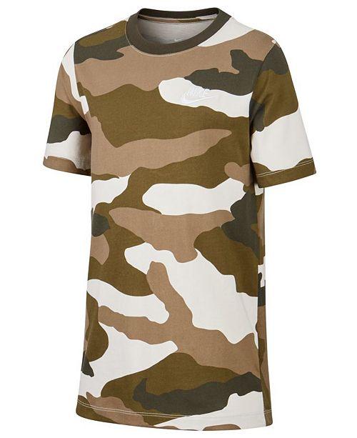 Nike Big Boys Camo-Print Cotton T-Shirt