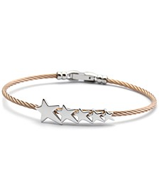 Star Cable Bangle Bracelet in Stainless Steel & Rose Gold-Tone PVD