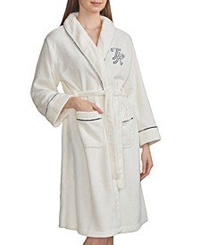Plush Embroidered Logo Short Robe, Online Only