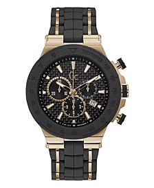 Gc Men's Structura Sport Black Silicone Strap Watch 45mm