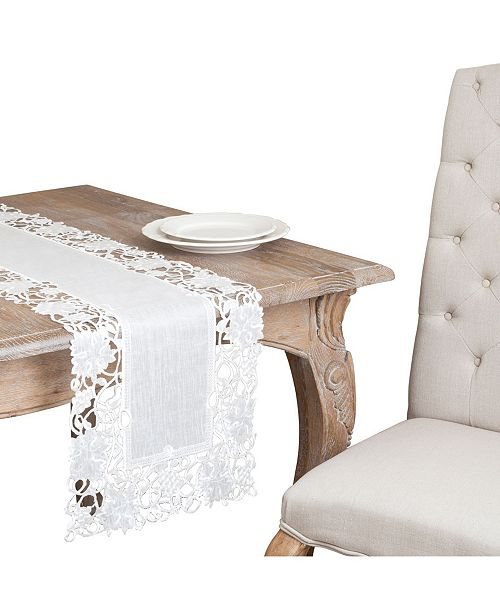 Saro Lifestyle Embroidered Cutwork Table Topper Or Runner