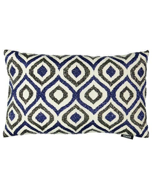 "Mod Lifestyles Blue Collection Ogee Beaded Lumbar Pillow, 14"" x 22"""