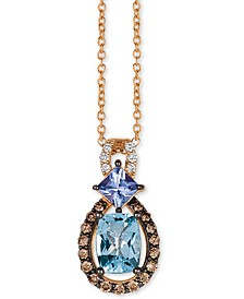 "Multi-Gemstone (1 ct. t.w.) & Diamond (1/6 ct. t.w.) 18"" Pendant Necklace in 14k Rose Gold"