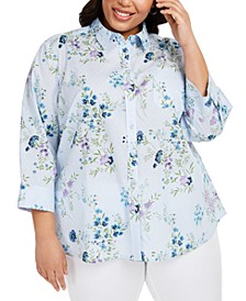 Plus Size Cotton Clip-Dot Shirt, Created for Macy's
