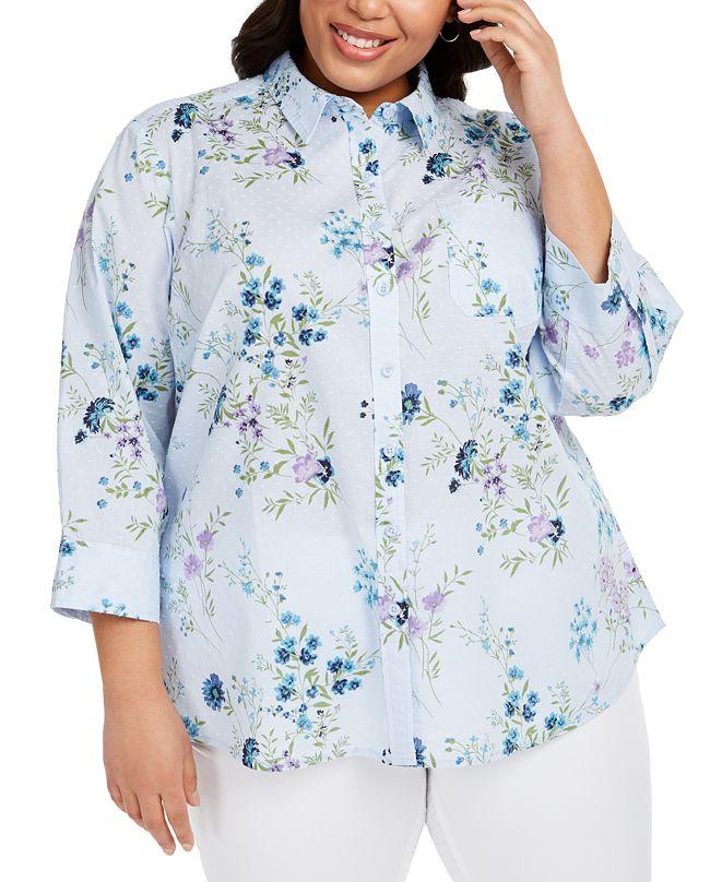 Karen Scott Plus Size Cotton Clip-Dot Shirt, Created for Macy's