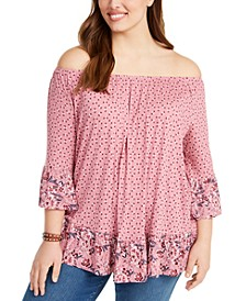 Plus Size Printed Ruffled Off-The-Shoulder Top, Created for Macy's