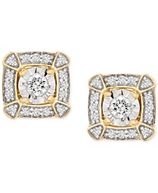 Diamond Miracle Plate Square Halo Stud Earrings (1/4 ct. t.w.) in 14k Gold