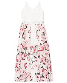 Big Girls Lace & Floral Walk-Through Dress