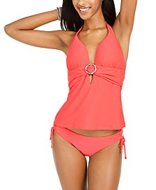 Tortoise-Ring Banded Halter Tankini & Side-Tie Hipster Bottoms, Created for Macy's