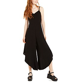 Juniors' Asymmetrical-Hem Cropped Jumpsuit