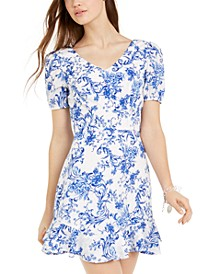 Juniors' Floral-Print Cutout-Back Dress