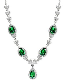 "Cubic Zirconia Green Halo Fancy Statement Necklace in Sterling Silver, 16"" + 2"" extender"