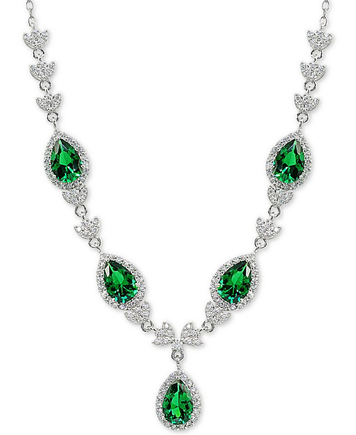"""Macy's - Cubic Zirconia Green Halo Fancy Statement Necklace in Sterling Silver, 16"""" + 2"""" extender"""