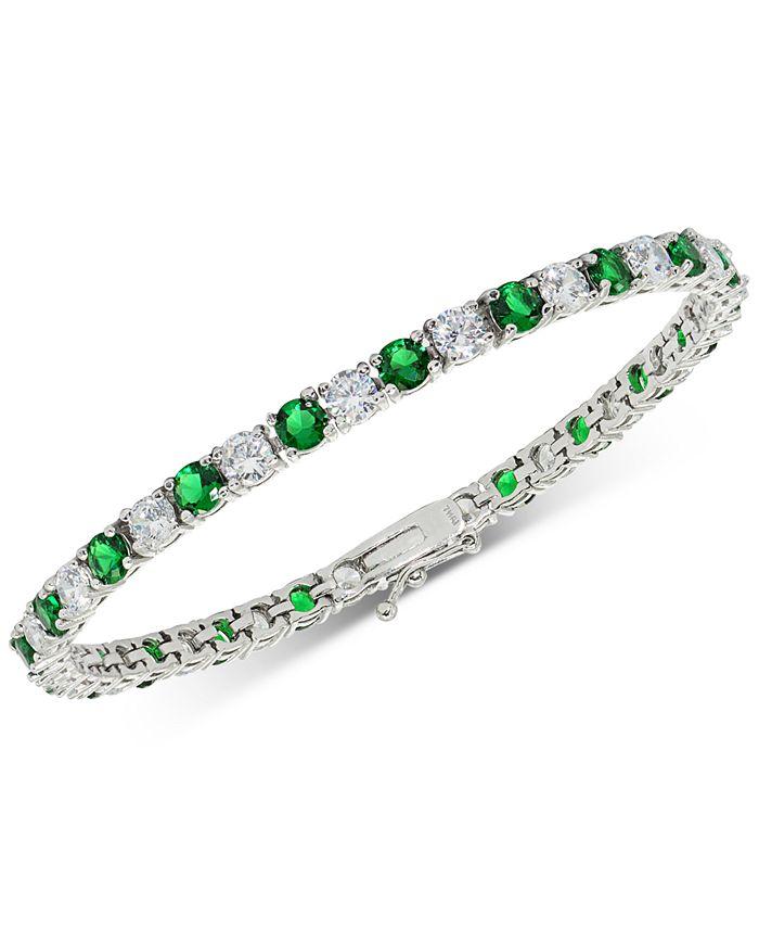 Macy's - Cubic Zirconia Green Tennis Bracelet in Sterling Silver