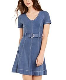 Derek Heart Juniors' Belted Faux-Suede A-Line Dress