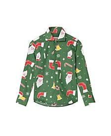 Little Boys Santa boss Christmas Shirt