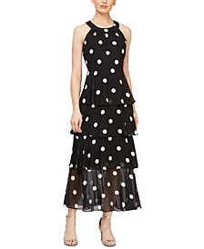 Tiered Dot-Print Maxi Dress