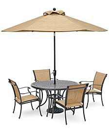 "Beachmont II Outdoor 5-Pc. Dining Set (48"" Round Table and 4 Dining Chairs), Created for Macy's"