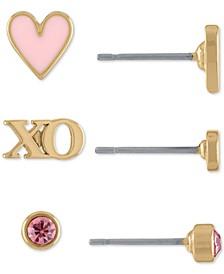 Gold-Tone 3-Pc. Set Crystal, XO & Heart Stud Earrings