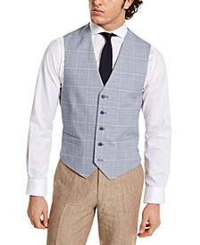 Men's Modern-Fit TH Flex Blue and Red Plaid Vest