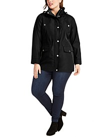 Plus Size Water-Resistant Hooded Anorak Jacket