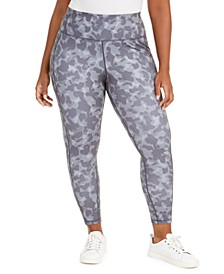 Plus Size Camo-Print Side-Pocket 7/8 Leggings, Created for Macy's