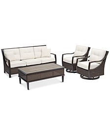 North Shore Outdoor 4-Pc. Seating Set (Sofa, 2 Swivel Chairs & Coffee Table) with Sunbrella® Cushions, Created For Macy's