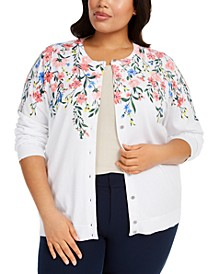 Plus Size Floral-Print Cardigan Sweater, Created For Macy's