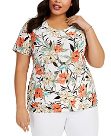 Plus Size Printed Jacquard Top, Created For Macy's