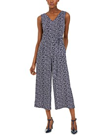 Cropped Crackle-Print Jumpsuit