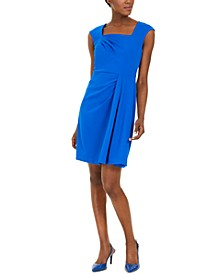 Square-Neck Draped Sheath Dress