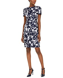 Printed Scuba-Crepe Sheath Dress