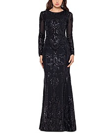 Petite Placed Sequin Gown