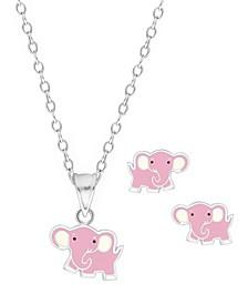 Children's Elephant Pendant Necklace Stud Earrings Set in Sterling Silver