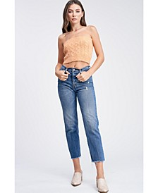 Cable Knit Sweater Cropped Tube Top