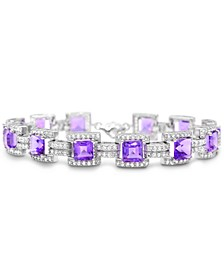 Amethyst (9-5/8 ct.t.w.), White Topaz (2-7/8 ct. t.w.) Tennis Bracelet in Sterling Silver