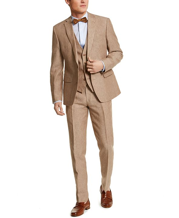 Bar III Men's Slim-Fit Tan Pinstripe Linen Three-Piece Suit Separates, Created for Macy's