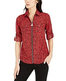 Printed Zip-Front Shirt, Regular & Petite