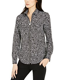 Printed Zip-Front Shirt, Regular & Petite