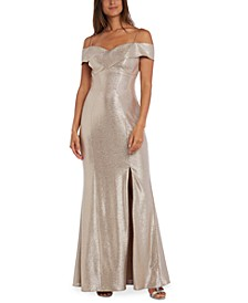 Petite Off-The-Shoulder Metallic Gown