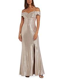 Cold-Shoulder Foil Gown