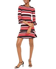 Striped Flounce-Hem Dress, Regular & Petite