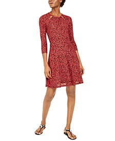 Petal-Print Keyhole Dress, Regular & Petite