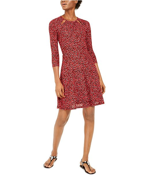Michael Kors Petal-Print Keyhole Dress, Regular & Petite