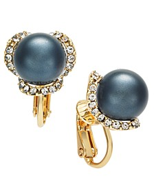 Gold-Tone Pavé & Imitation Pearl Clip-On Stud Earrings, Created for Macy's