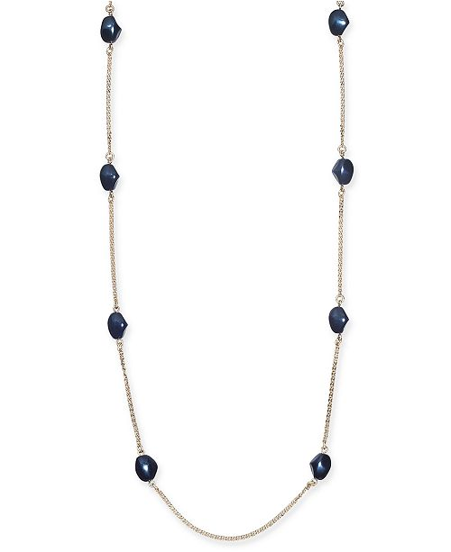 """Charter Club Gold-Tone Imitation Pearl Station Necklace, 42"""" + 2"""" extender, Created for Macy's"""